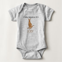 "cute ""a baby kangaroo is a JOEY"" Baby Bodysuit"