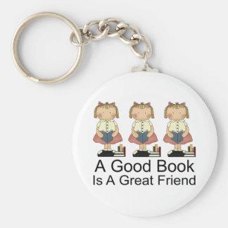 Cute A Good Book is a Great Friend T-shirt Basic Round Button Keychain