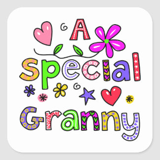 Cute A Special Granny Greeting Text Expression Square Sticker