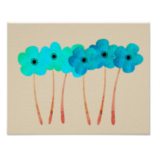 Cute Abstract Blue And Green Flowers Collage Poster