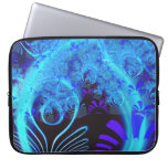 Cute Abstract Blue Floral Nature Pattern Fine Art Laptop Computer Sleeve