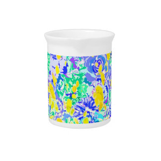 Cute abstract colorful spring flowers drink pitcher
