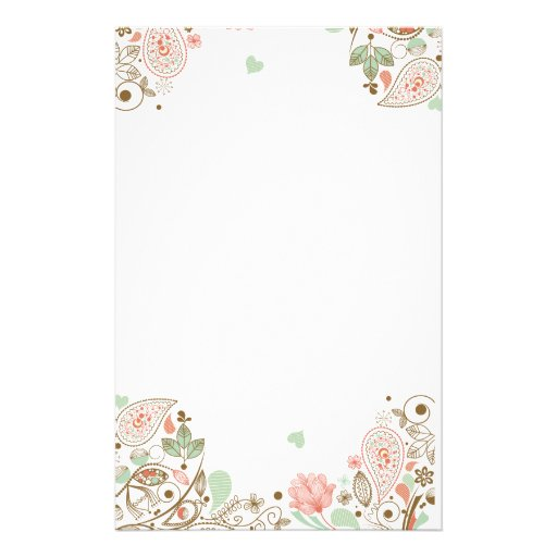 Cute Abstract Floral #1-3S Stationery
