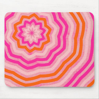 Cute Abstract Flower Pink and Orange Mouse Pad
