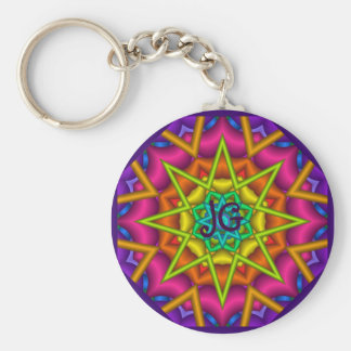 Cute abstract green star Keychain with Monogram