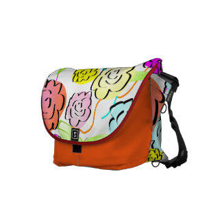 Cute Abstract Happy Flowers Messenger Bag