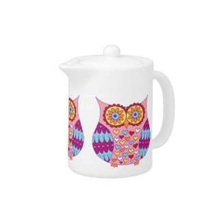 Cute Abstract Owl Teapot