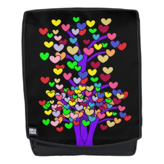 Purple Trees Colorful Hearts Print Backpack