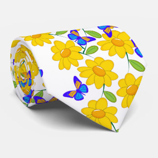 Cute abstract sunflower blue yellow butterfly tie
