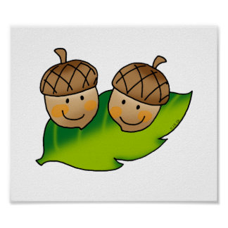 cute acorns poster
