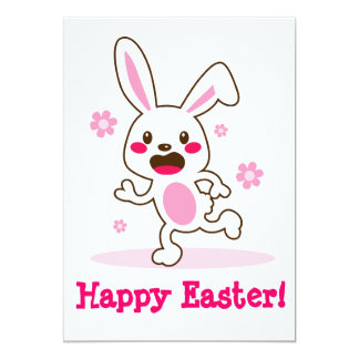 Cute active easter bunny running and smiling with card