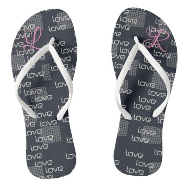 Cute  Add Monogram Love Pattern Flip Flops
