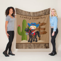 Cute add name cowboy room decor blanket