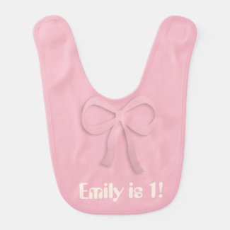 Cute Add Text Chic Bow Pink Bib