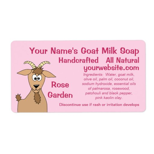 Cute Add Your Name Goat Milk Soap Labels Template