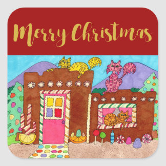 Cute Adobe Gingerbread House & Cats Christmas Square Sticker