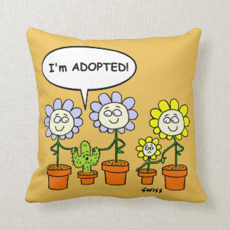 Cute Adopted Cactus Cartoon Desert Gold Background Throw Pillow