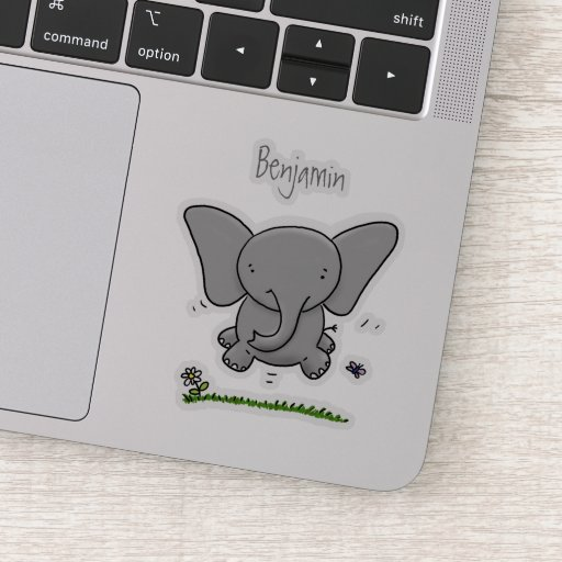 Cute adorable baby elephant cartoon illustration sticker