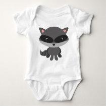 Cute, adorable baby raccoon baby bodysuit