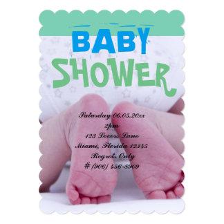 Cute Adorable Baby Shower Crib Nursery Footprints Card
