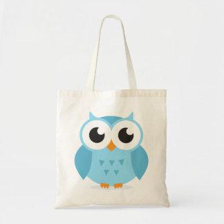 Cute adorable blue owl animal cartoon for kids tote bag