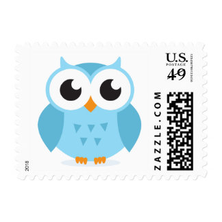 Cute adorable blue owl animal cartoon stamps