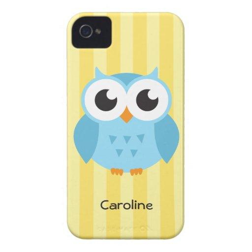 Cute adorable blue owl animal cartoon yellow name iPhone 4 covers