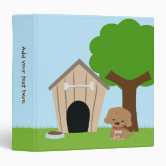 Cute adorable cartoon doggie and dog house binder