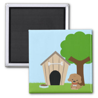 Cute adorable cartoon doggie and dog house magnet