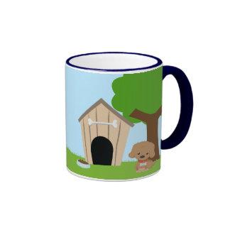 Cute adorable cartoon doggie and dog house mug