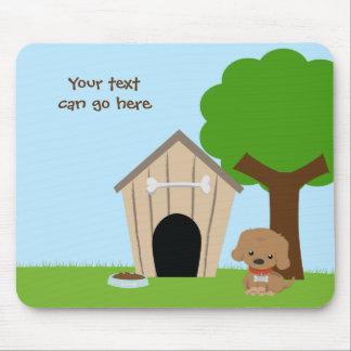 Cute adorable cartoon doggie & dog house mousepad