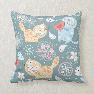 Cute Adorable Cartoon Kitty Cats Throw Pillow