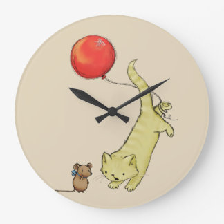 Cute Adorable Cat And Mouse Large Clock