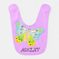 Cute Adorable Colorful Butterfly Personalized Bib