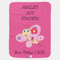 Cute Adorable Colorful Butterfly Personalized Swaddle Blanket