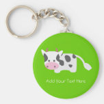 Cute & Adorable Cow Basic Round Button Keychain