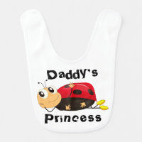 Cute & Adorable Daddys Princess Ladybug Baby Bib