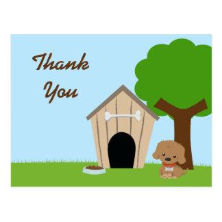 Cute adorable doggie house thank you postcard
