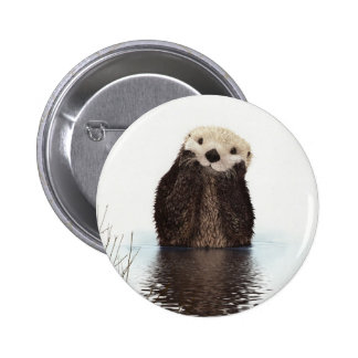 Cute adorable fluffy otter animal 2 inch round button