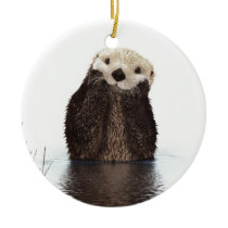 Cute adorable fluffy otter animal ceramic ornament