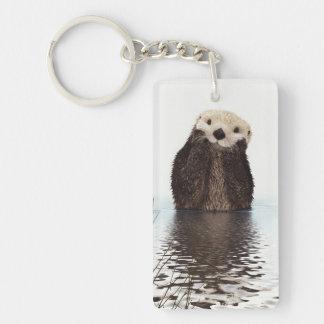 Cute adorable fluffy otter animal keychain