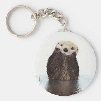 Cute adorable fluffy otter animal keychain