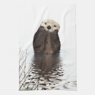 Cute adorable fluffy otter animal kitchen towel