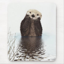 Cute adorable fluffy otter animal mouse pad