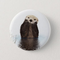 Cute adorable fluffy otter animal pinback button