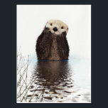 "Cute adorable fluffy otter animal postcard<br><div class=""desc"">Cute adorable fluffy otter animal with the hands on the cheeks in the water reflexions image print</div>"