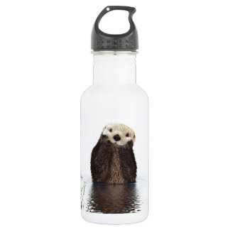 Cute adorable fluffy otter animal stainless steel water bottle