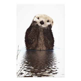 Cute adorable fluffy otter animal stationery