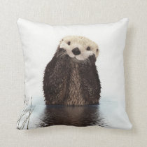Cute adorable fluffy otter animal throw pillow