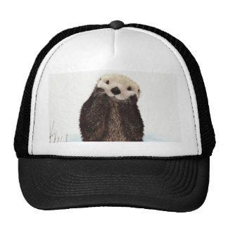 Cute adorable fluffy otter animal trucker hat